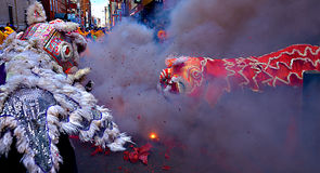 Lion Dance - Philadelphia. Draagons and Firecrackers during Lion Dance Stock Photo
