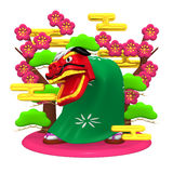 Lion Dance And Pink Plum Trees Royalty Free Stock Photography