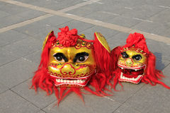 Lion dance props -- lion head Stock Image