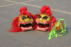Lion dance props -- lion head Stock Images