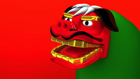 Lion Dance On Red Text Space stock video