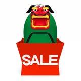 Lion Dance In Sale Bag Front View Image libre de droits