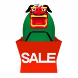 Lion Dance In Sale Bag Front View Royalty Free Stock Image
