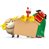 Lion Dance, Sheep With Empty Votive Picture On White Royalty Free Stock Photography