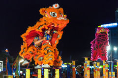 Lion dance show to celebrate Lunar New Year, Vietnam Royalty Free Stock Photo