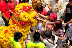 Lion Dance Spectators. KUALA LUMPUR, MALAYSIA - February 7 : Spectators getting blessing by touching the lion at Tian Hou temple, Kuala Lumpur Malaysia during Royalty Free Stock Photography