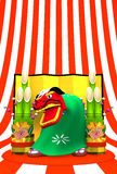 Lion Dance On Striped Pattern Arkivfoton