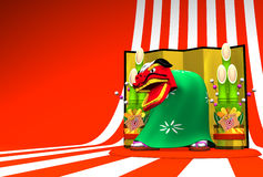Lion Dance On Striped Pattern Text Space Royalty Free Stock Image