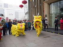 Lion dance, take part in the celebration of Chinese New Year Stock Photo
