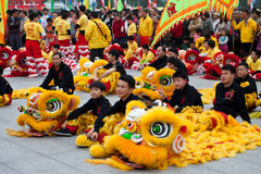 Lion dancers Stock Photos