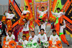 Lion dancers celebrating Royalty Free Stock Photography