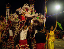 Lion dancers in chingay festival Stock Images