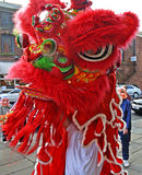 Lion Dancers with Happy Buddhas at celebration of Chinese New Year in Blackburn Lancashire Royalty Free Stock Photos