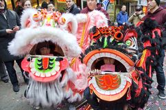 Lion Dancers Royalty Free Stock Images