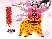 Lion dancing and chinese new year with firecracker Stock Images