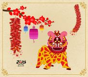 Lion dancing and chinese new year with firecracker Royalty Free Stock Photo