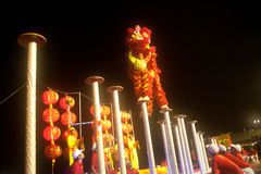 Lion dancing in Chinese New Year. Royalty Free Stock Photos