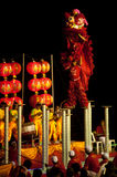 Lion dancing in Chinese New Year. Royalty Free Stock Photography