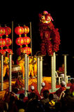 Lion dancing in Chinese New Year. Royalty Free Stock Image