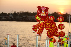 Lion dancing in Chinese New Year. Royalty Free Stock Photo