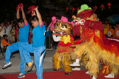 Lion dancing in Chinese New Year. Stock Photos