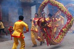 Lion dancing and dragon dancing in rural China Royalty Free Stock Image