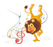 A lion dancing with musical notes Royalty Free Stock Photo