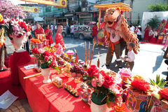 Lion dancing performers during thr celebration,Of Chinese New Year. Stock Photo