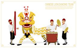 Lion dancing team royalty free stock images