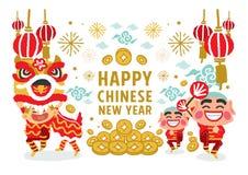 Lion Dancing-Vektorkonzept des Chinesischen Neujahrsfests Stockfotos