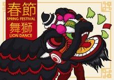 Lion Dancing y lechuga negros de la consumición por el Año Nuevo chino, ejemplo del vector stock de ilustración