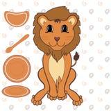 Lion de bébé avec des plats Photographie stock