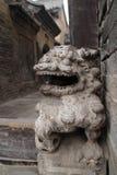 Lion de découpage en pierre dans un ¼ antique Œchina de Œshanxiï de ¼ d'architectureï photo stock