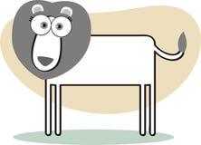 Lion de dessin animé en noir et blanc Photos stock