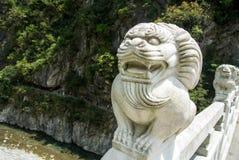 Lion de marbre, Taroko, Taïwan Image libre de droits