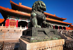 Lion de ville interdit par Chine Images libres de droits