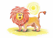 Lion at the desert Stock Photography