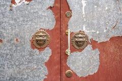 Lion Door Handles in a Beijing Hutong Royalty Free Stock Photos
