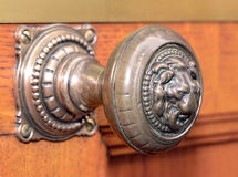 Lion Door Knob. Brass, Door Knob with Lion Head Royalty Free Stock Photo