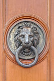 Lion door knocker. Brass lion knocker at wooden door Stock Image