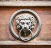 Lion door knocker on wooden door royalty free stock images