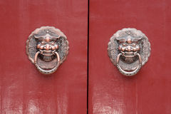 Lion door lock. Chinese,old door Stock Images