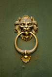 Lion Doorknocker sur une trappe verte Photos stock