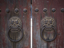 Lion doorknockers in Bulguksa temple in Gyeongju, South Korea Stock Images