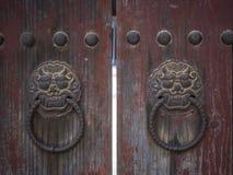 Lion doorknockers in Bulguksa temple in Gyeongju, South Korea Stock Images
