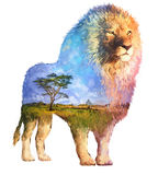 Lion double exposure illustration. The lion on white background double exposure illustration. Retro design graphic element. This is illustration ideal for a Stock Image