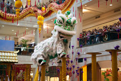 Lion and Dragon Dance Barongsai in Mall Jakarta Indonesia Stock Photo
