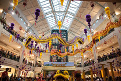 Lion and Dragon Dance Barongsai in Mall Jakarta Indonesia Royalty Free Stock Photos