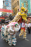Lion and Dragon dance at Chinatown Stock Image