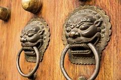 Lion dragon door accent Stock Photos